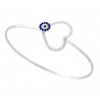 Silver Heart Evil Eye Bangle Bracelet 925 Sterling Silver Heart Evil Eye Bangle Bracelet. Handmade with hand-twisted wire and rhodium plated to resist tarnish. The perfect blend of crisp sterling silver and cz stones creates this modern, stylish bangle bracelet.