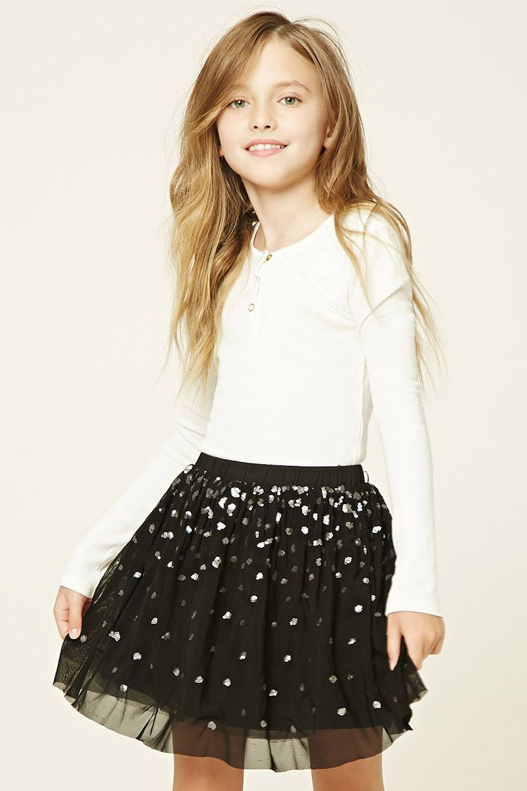 Forever 21 Girls - A mesh knit skirt featuring sequin throughout, an elasticized waistband, and a tulle underlay.