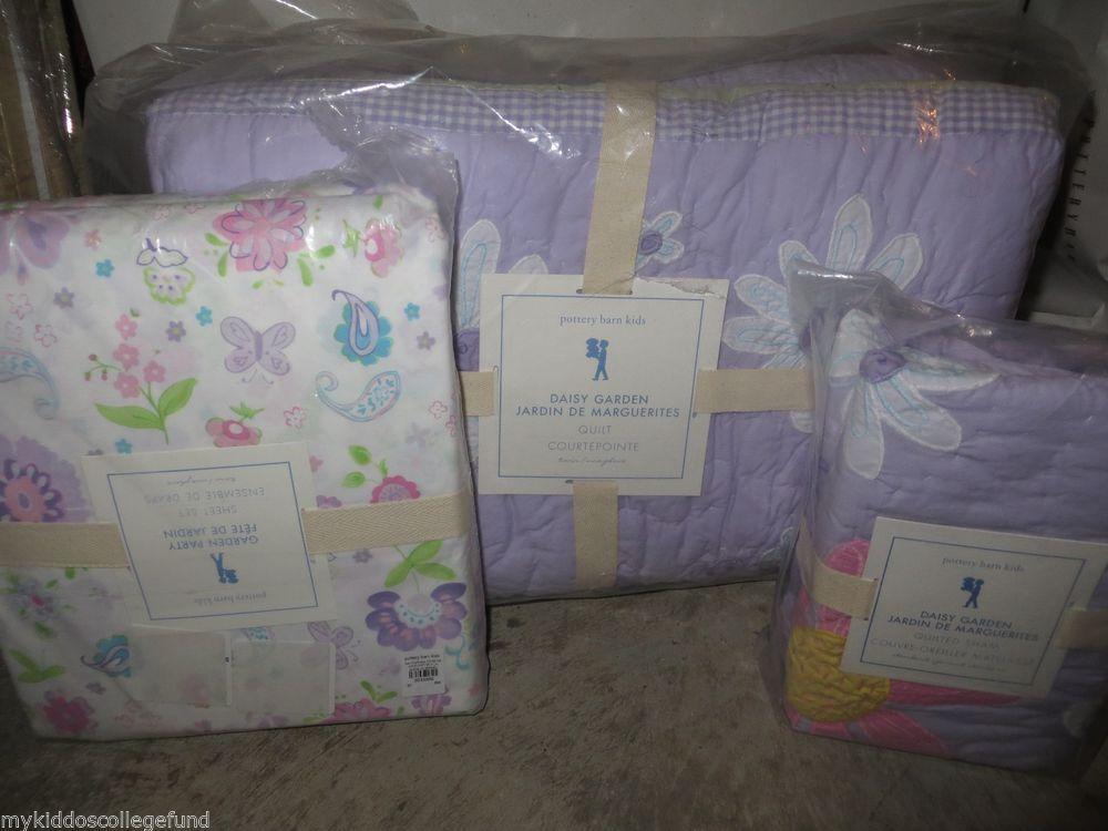 NWT Pottery Barn Kids Daisy Garden Lavender Twin Quilt, Sham U0026 Sheet Set  Purple #