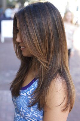 Balayage Layers Asian Light Brown Highlights Long Hairstyles