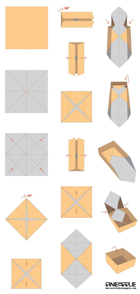 Quick Origami Disposable Trash Box · How To Fold An Origami Box ... | 1151x550