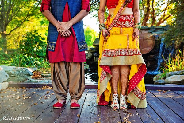 Indian bride and groom at pre-wedding celebrations http://www.maharaniweddings.com/gallery/photo/116564