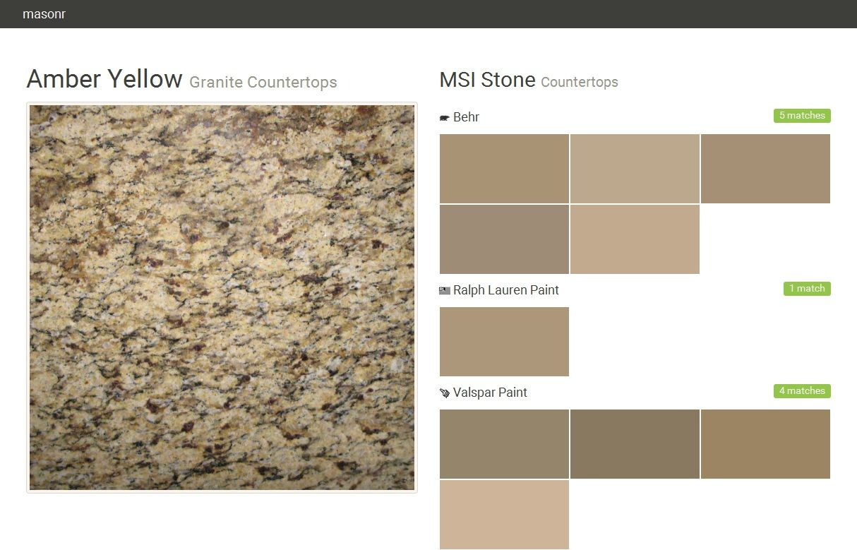 Amber Yellow. Granite Countertops. Countertops. MSI Stone. Behr. Ralph  Lauren Paint. Valspar Paint. Click The Gray Visit Button To See The  Matching Paint ...