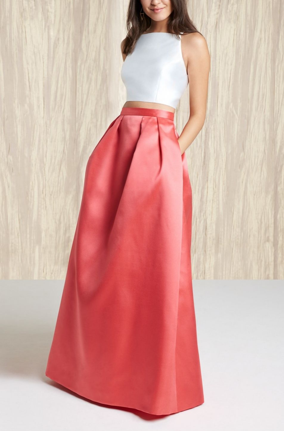 This gorgeous twopiece satin ballgown is in the running for prom