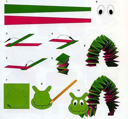 Гусеница из бумаги своими руками 19