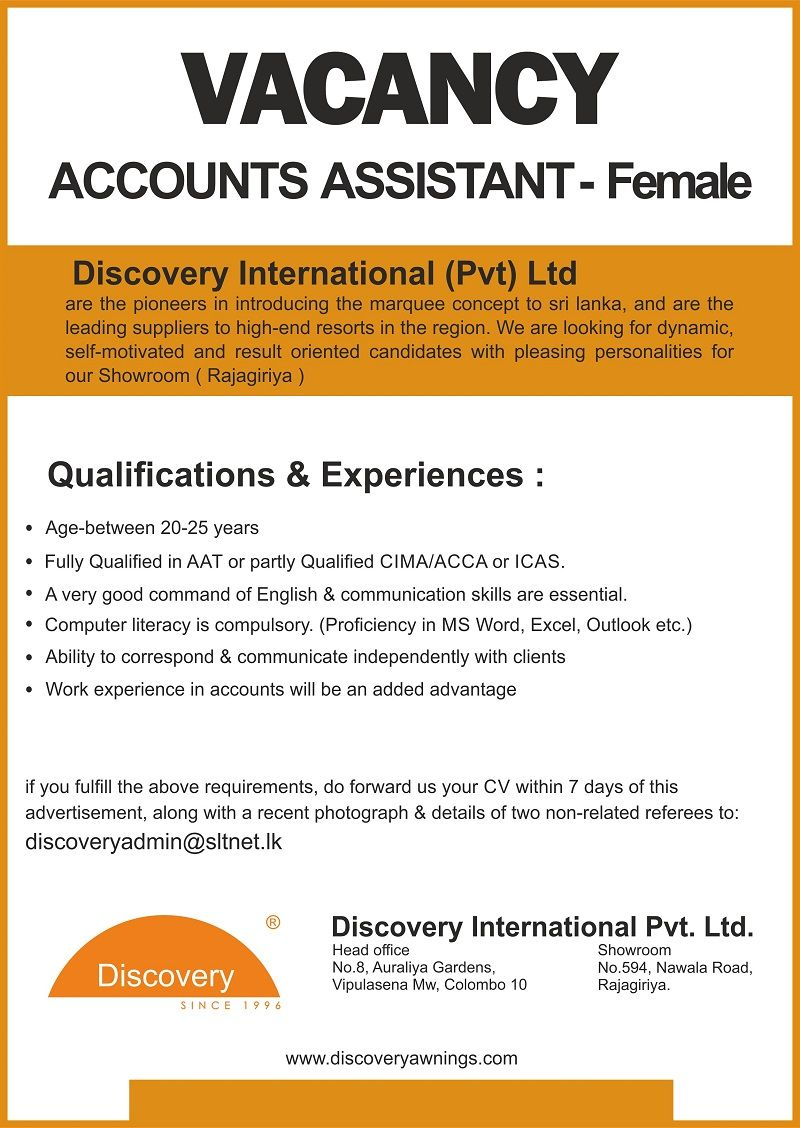 Female Accounts Assistant At Discovery International Pvt Ltd