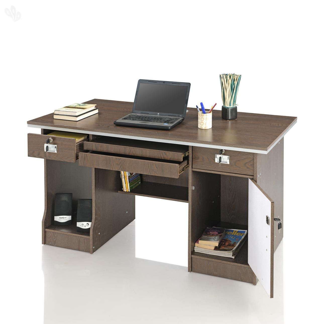 Buy Royal Oak Computer Table with Storage Drawers & Dark Finish