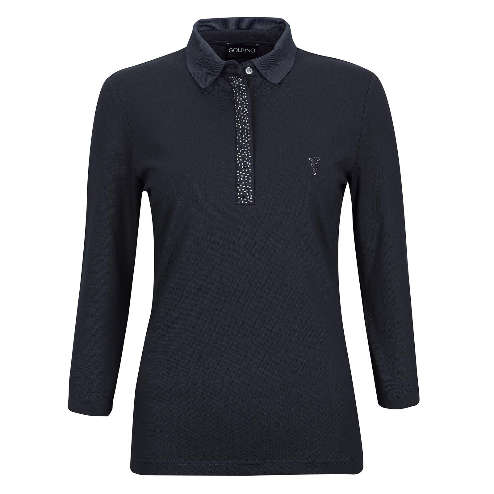 a0e803d5 This polo shirt is made of material that is impenetrable to UV rays. The  glittery stitched logo on the chest and above all the button band stand  out, ...