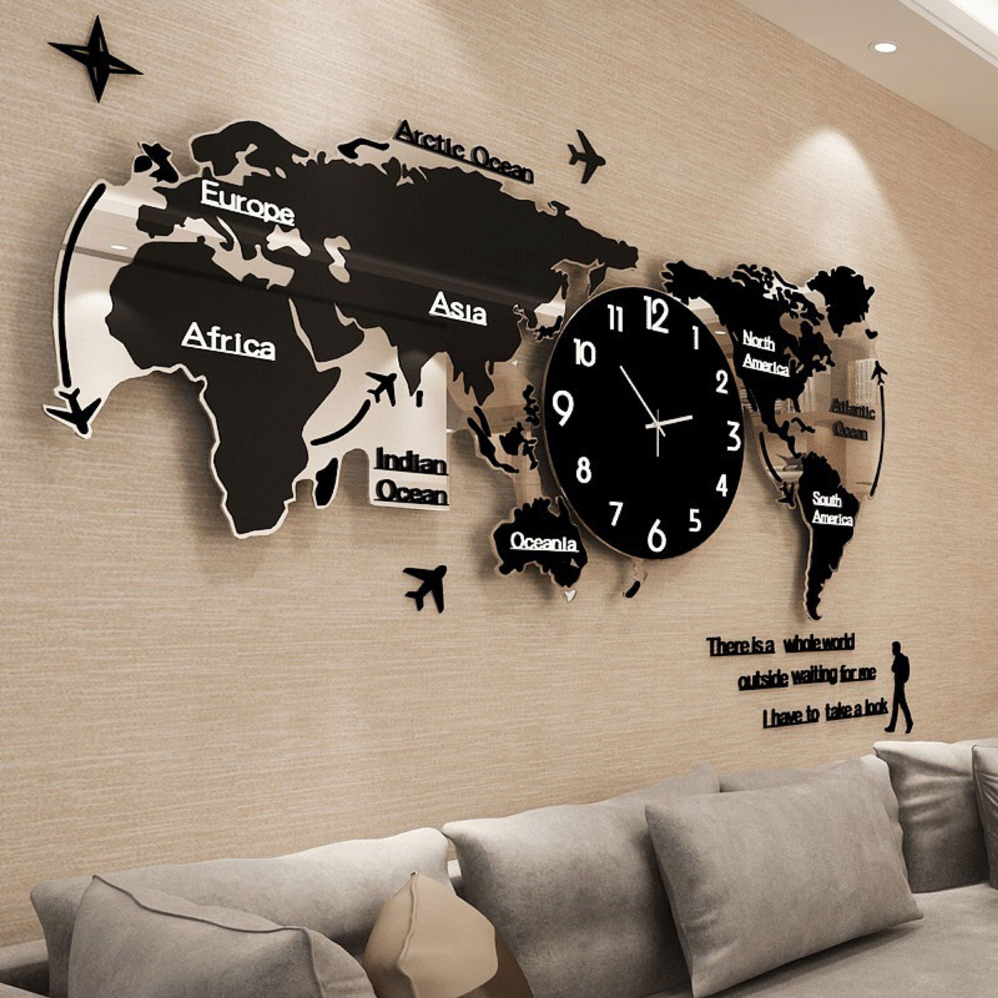 Acrylic Wall Clock Creative World Map Wall Etsy In 2021 World Map Wall Wall Watch Clock