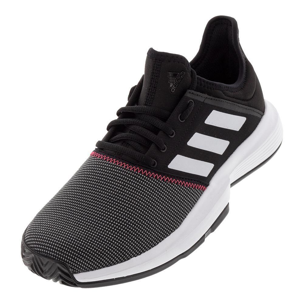 Adidas Men S Gamecourt Tennis Shoes Black And White Cg6334 S19 Adidas Black Cg6334s19 Ga In 2020 Tennis Shoe Outfits Summer Black Tennis Shoes White Tennis Shoes