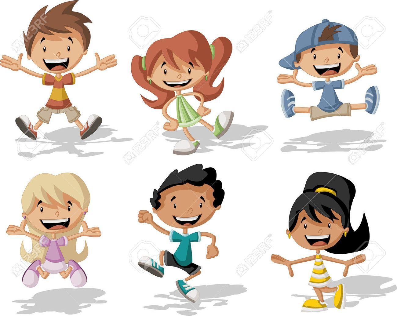 Dibujos Caras De Niños Felices Animadas: Grupo De Niños Felices De Dibujos Animados Saltando Foto