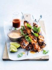 char-grilled lime and sriracha chicken skewers