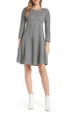 b581726730f ELIZA J Designer Cable Fit   Flare Sweater Dress