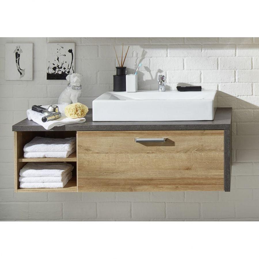 Waschtischunterschrank Bay Eiche Riviera Honig Dekor Beton Mit Waschbecken Badezimmer Unterschrank Holz Waschbeckenunterschrank Badezimmer Unterschrank