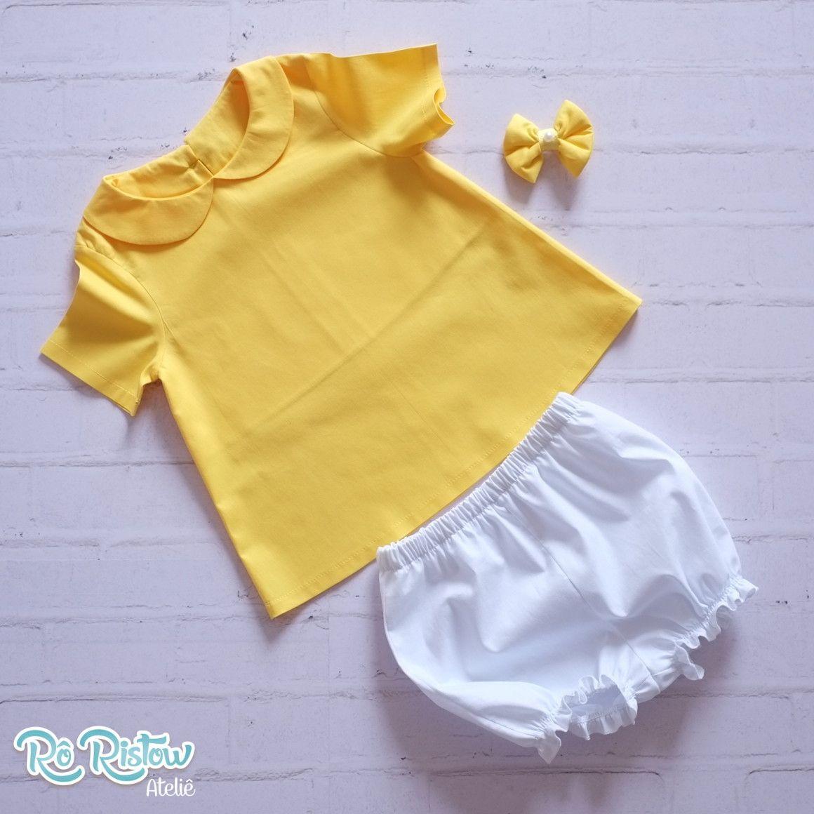 Vestido Amarelo Com Gola Shortinho E Laco Super Fofo