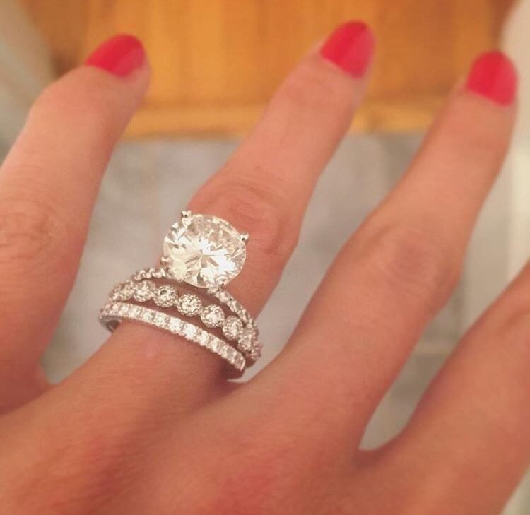 The Diamond Would Be Too Big For My Small Fingers But I Love The Stacking Of The Bands Beautiful Engagement Rings Engagement Rings Wedding Rings