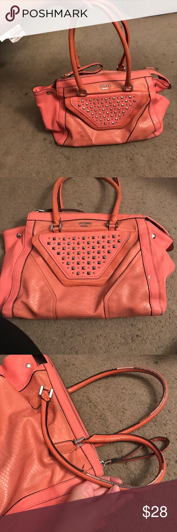 Orange pink Guess purse In okay condition still wearable inside is ...