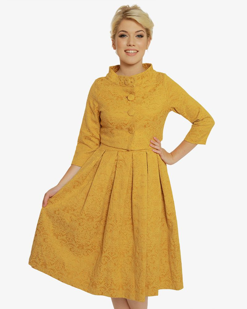 49b07c2bab24a Marianne' Mustard Swing Dress and Jacket Twin Set in 2019 | I would ...
