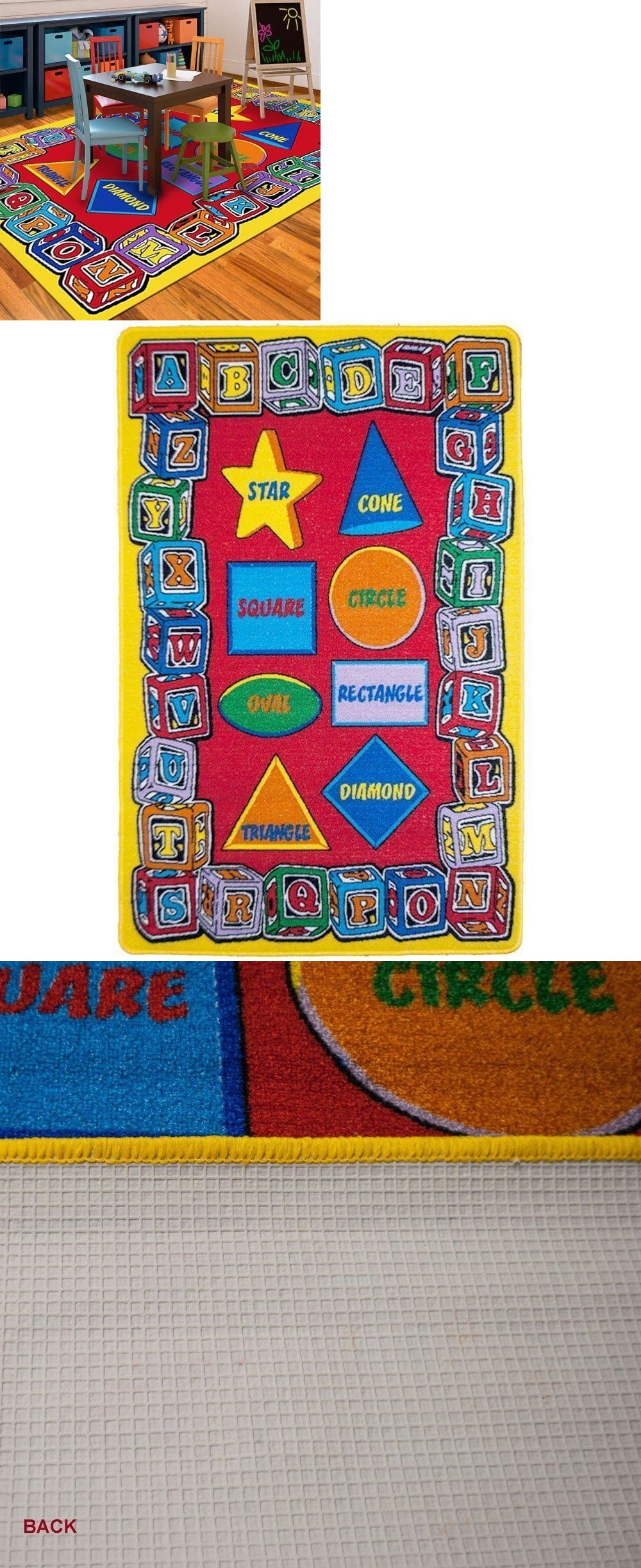 Kids Rugs Abc Shapes Area Rug 5 X 7 Children Letters Carpet Non Skid