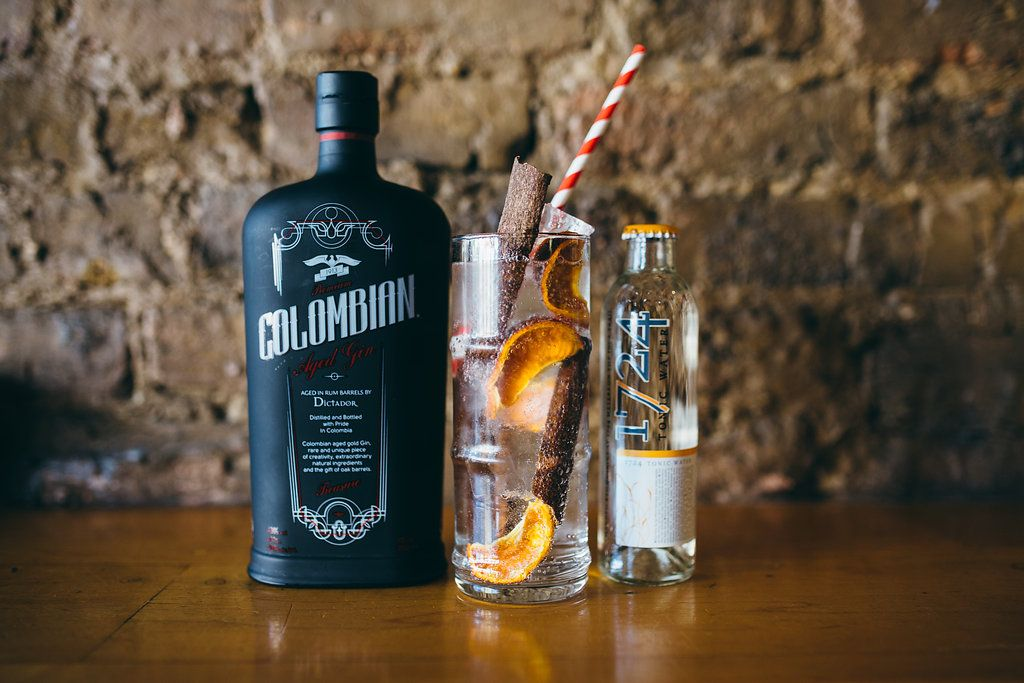 Dictador Colombian Treasure Aged Gin, with a dried twist of orange peel, Cassia…