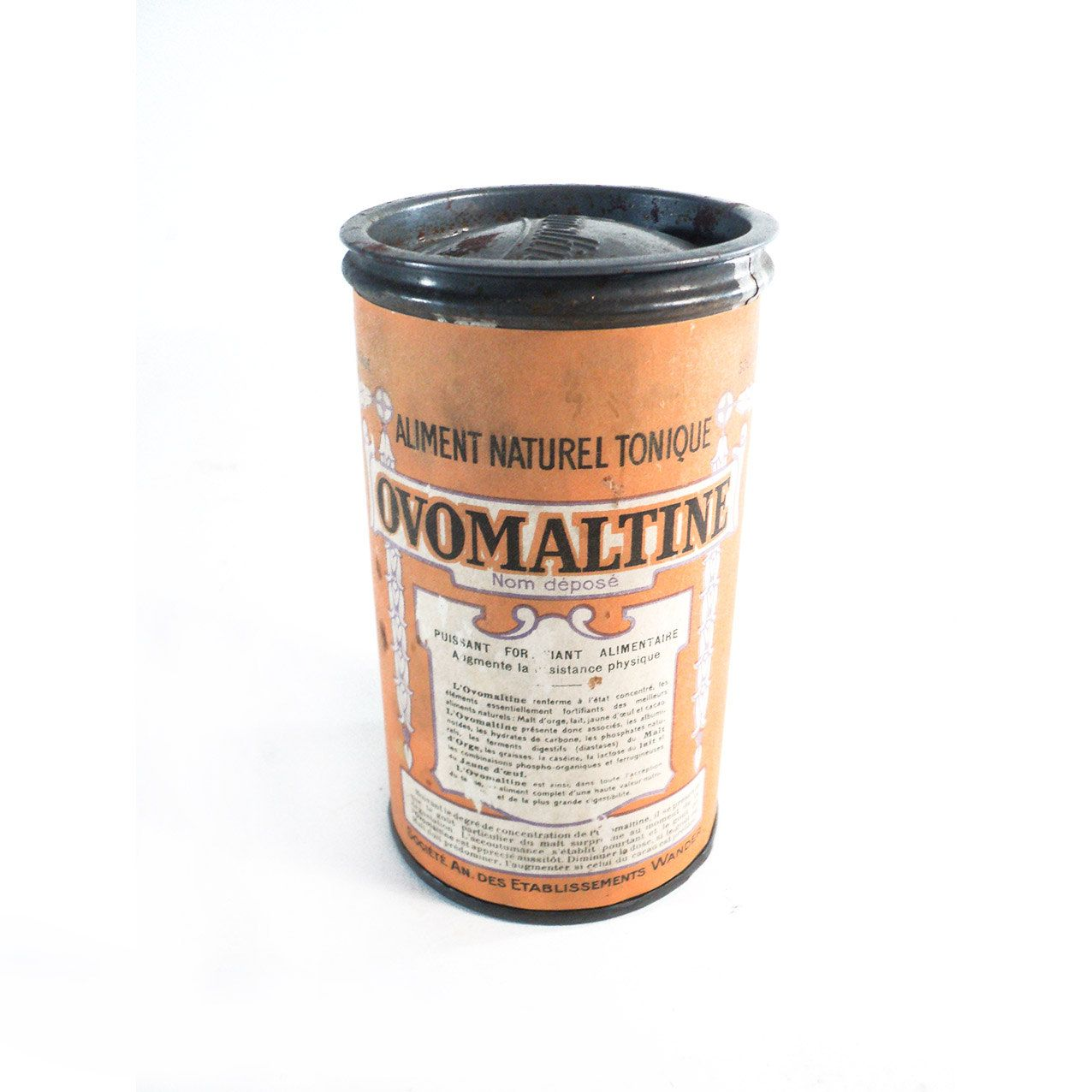 french ovomaltine tin box orange metallic container retro french ovomaltine tin box orange metallic container retro organizer repurposed storage box