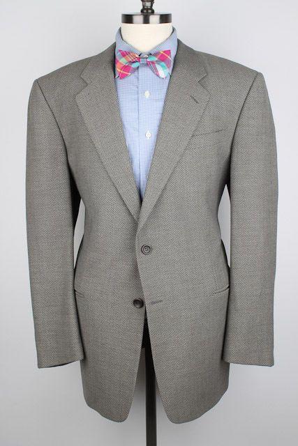 RECENT Armani Collezioni Beige Taupe Herringbone Wool 44 R mens Sport Coat  #ArmaniCollezioni #TwoButton