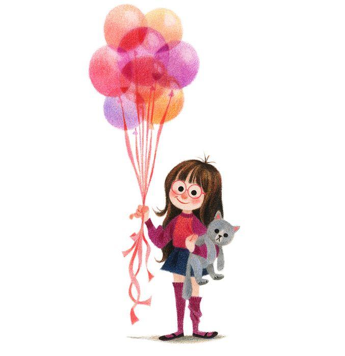 Открытка ребенок на шарике