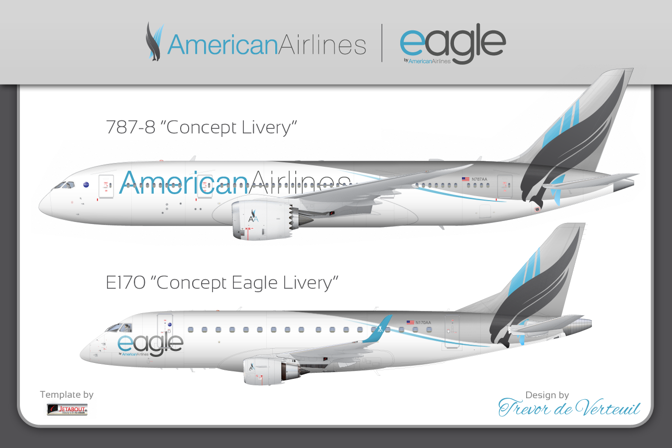 Another of the rejected 2014 American/US Airways liveries ...
