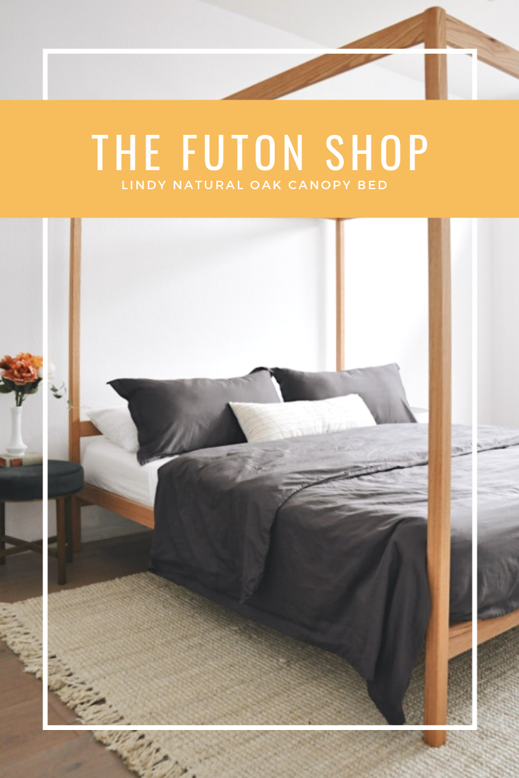 Chemical Free Real Wood This Is The Lindy Natural Oak Canopy Bed From The Futon Shop Made In America Wood Platform Bed Frame Solid Wood Bed Frame Futon Shop