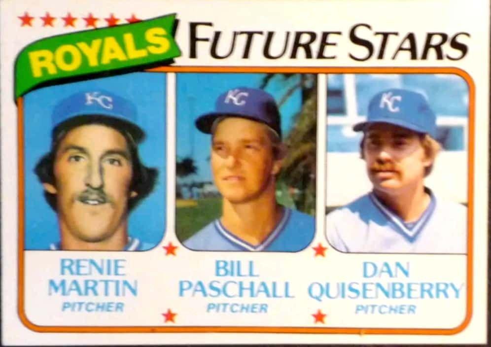 Renie Martin Bill Paschall Dan Quisenberry 1980 Royals Sports Cards Baseball Cards Baseball