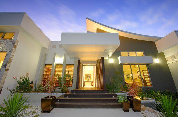 Como Decorar Las Fachadas De Casas Minimalist House Design House Roof Design Contemporary House Exterior