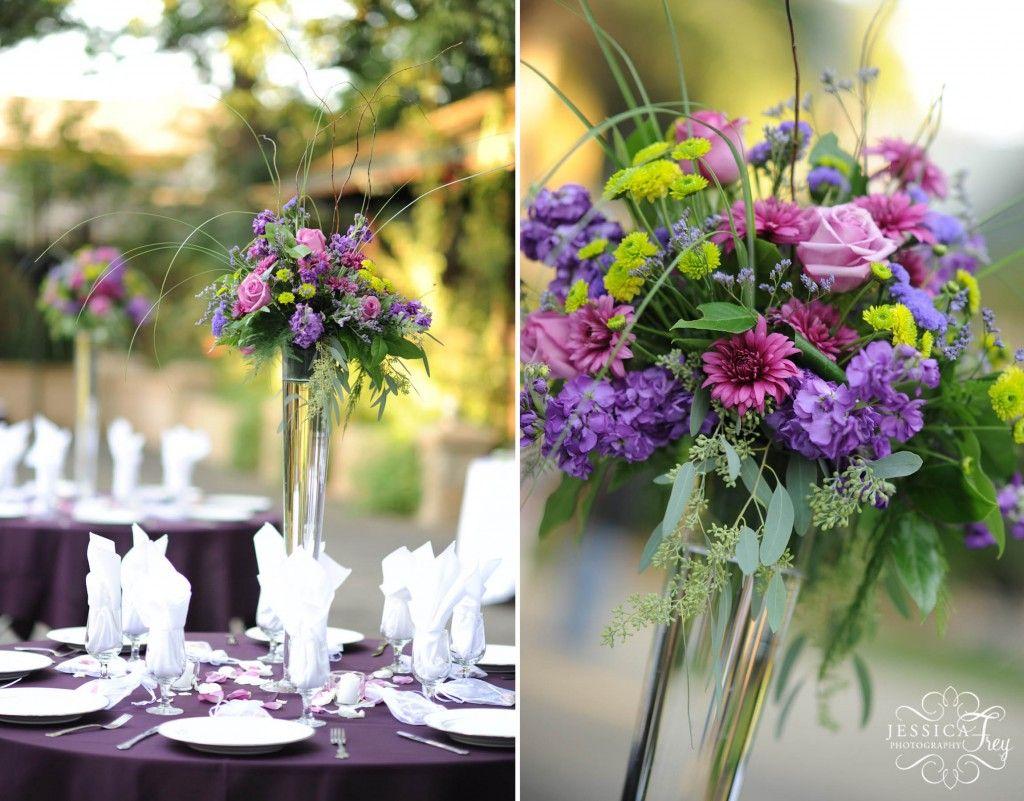 October Wedding Colors Beautiful Blue Purple Flower Arrangements For Tables