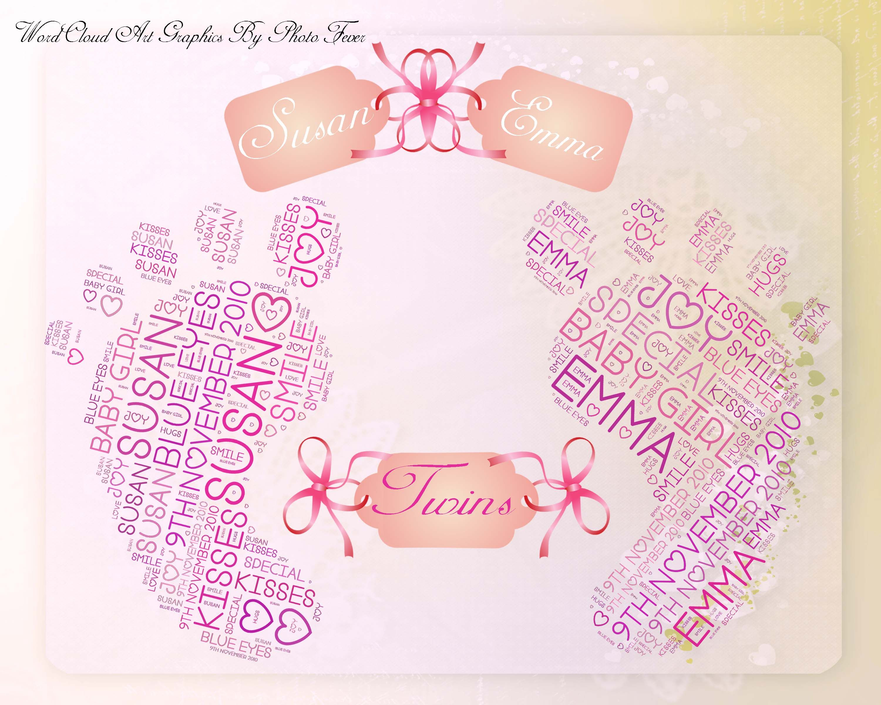 New Baby Lots of beautiful personalised handprints, footprints with your own words and colour choice for multiple or single birth babies. I also do Angel pictures if you have sadly lost a baby.