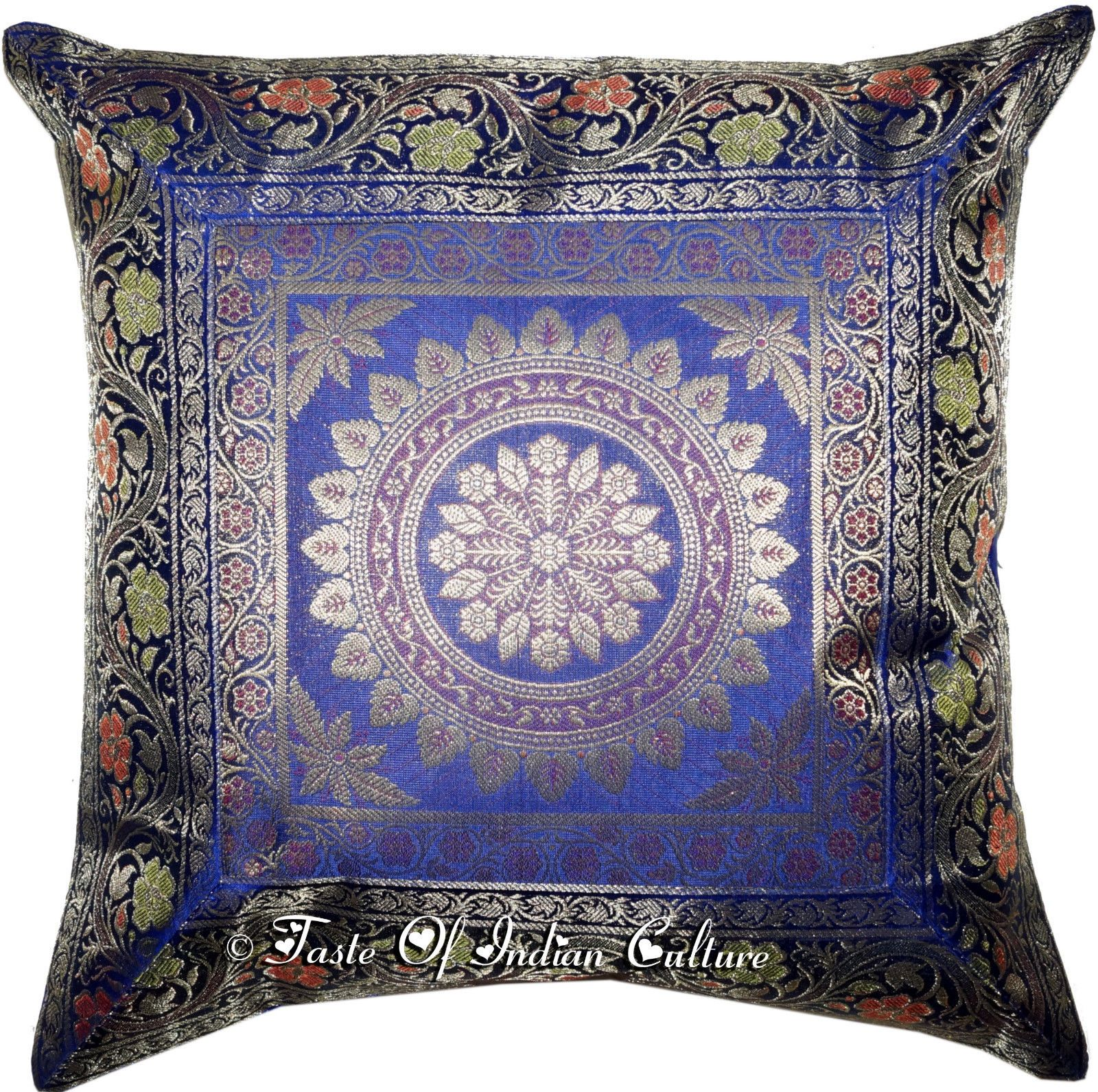 Details About Blue Mandala 17 Cushion Pillow Cover Handmade Toss