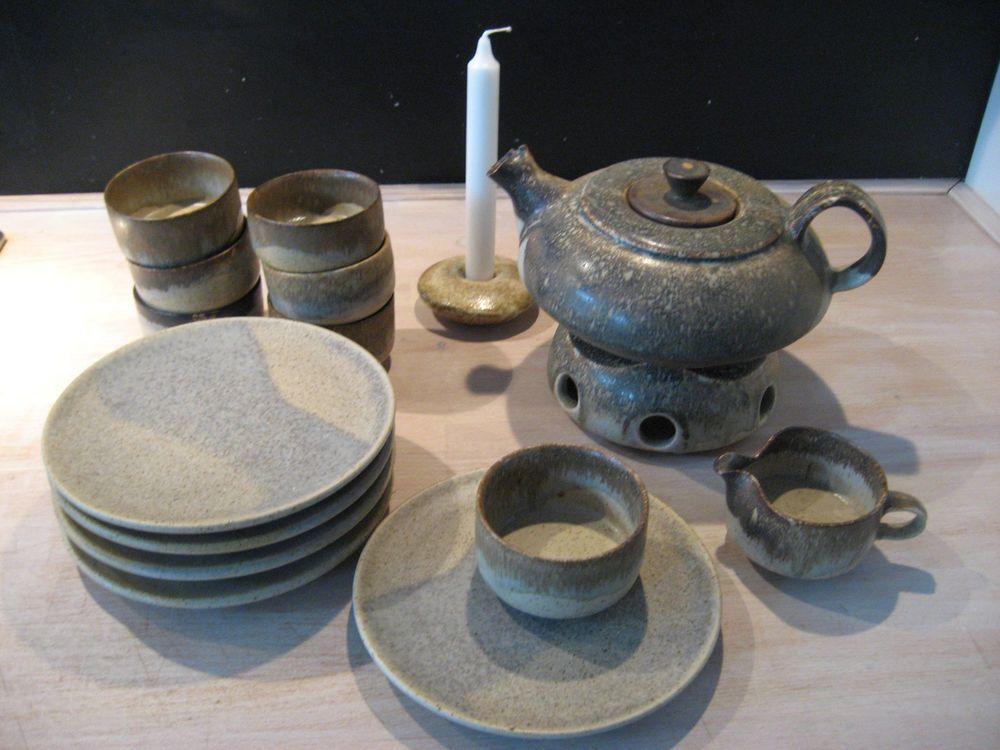 5teilig * getöpfert * Teeservice der besonderen Art * aus Steingut braun