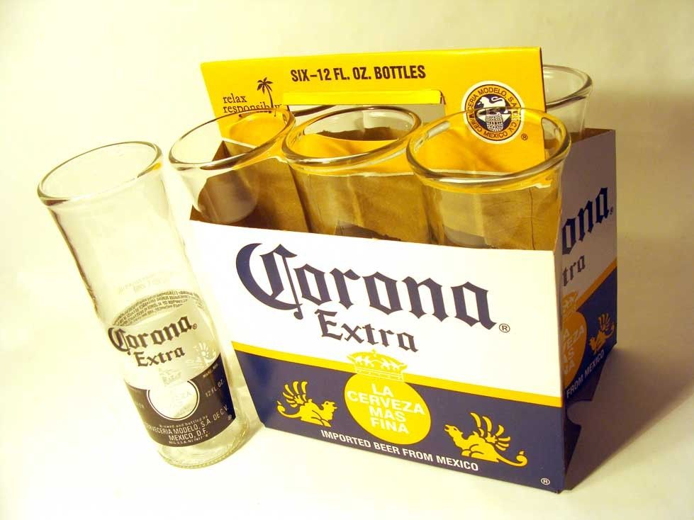 Recycled Corona Bottles Into A Six Pack Of Drinking Glasses Recycled Beer Bottles Recycle Trash Beer Bottle
