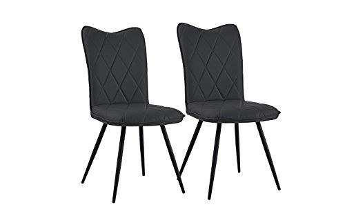 Set of 2 Dining Chairs Faux Leather Kitchen Chairs for ...