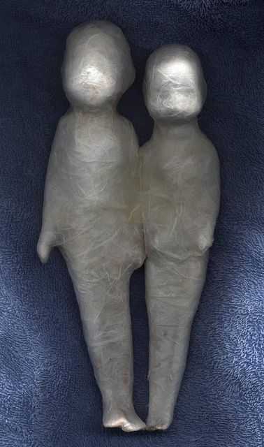 """Eileen McGarvey - Love Coccon dolls - this couple explores the """"safe"""" place we create for each other in relationships. It is a work in progress, they have just  started spinning the cocoon around themselves."""