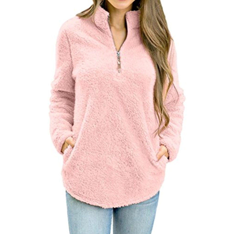 e9a6f071 Zipper Fleece Blouse ,BeautyVan New Design Womens Long Sleeve Winter Warm  Zipper Fleece Pullover Tops Blouse (L, Pink) ** Learn more by visiting the  image ...