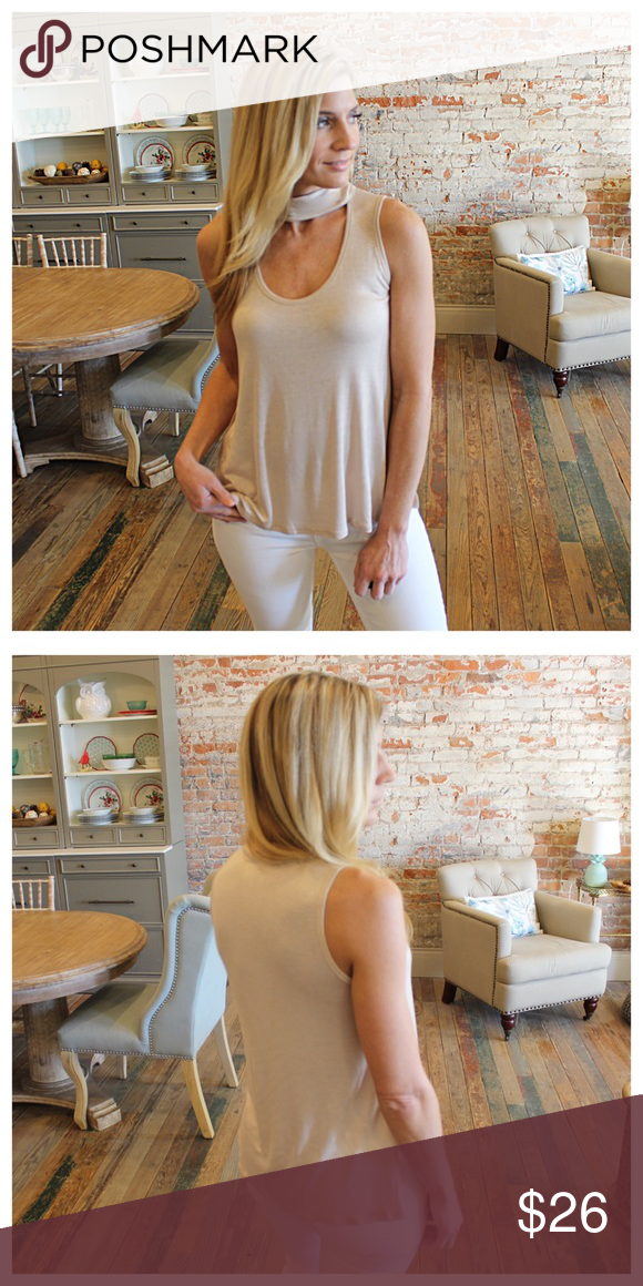 """Beige sleeveless Choker neck top Modeling size small. 95% rayon 5% spandex.  Bust laying flat: S 18"""" M 19"""" L 20"""" Length S 24"""" M 25"""" L 26"""". Add to bundle to save when purchasing. FC8010224 Tops"""