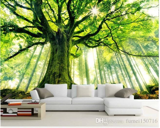 3d Wallpaper Custom Mural Non Woven Wall Stickers Tree Forest Setting Wall Is Sunshi Tree Wallpaper Living Room 3d Wallpaper For Walls Wall Wallpaper
