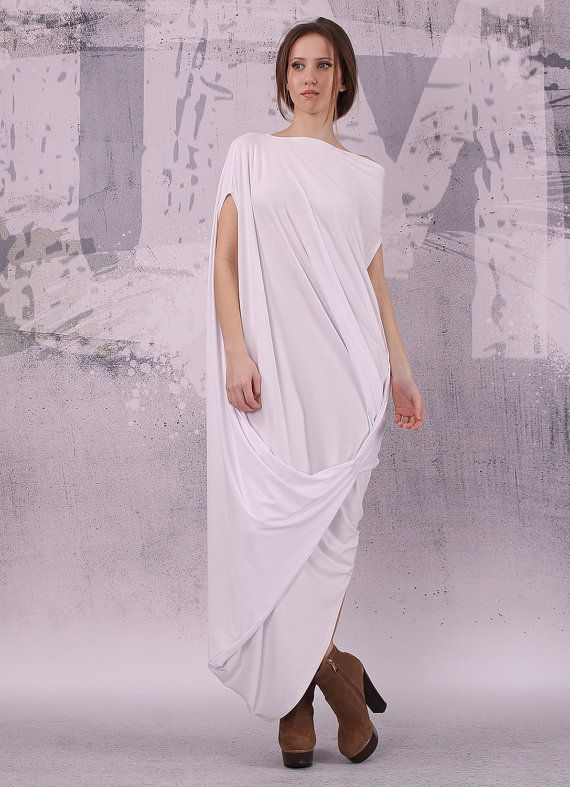 White Loose Maxi Dress With Very Short Sleeves Plus Size Dress