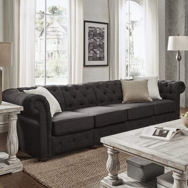 Genial Knightsbridge Dark Grey Linen Oversize Extra Long Tufted Chesterfield  Modular Sofa By SIGNAL HILLS