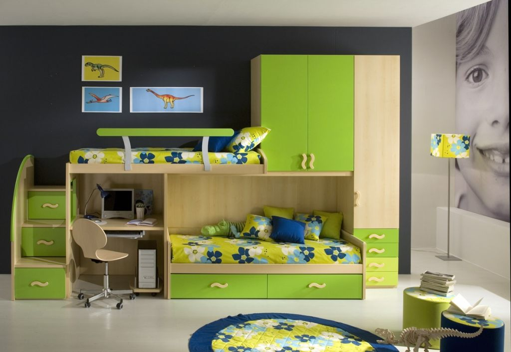 A Bedroom is really valuable for kids  These Green Color Bedroom Ideas. Small kids bedroom with small study table space and cute cabinets