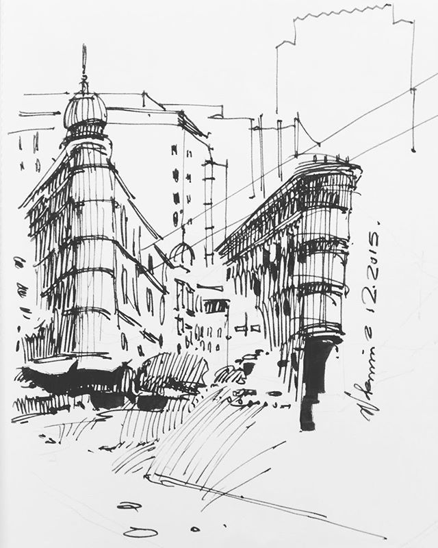 Gloomy day in SF Quick intersection studies sketch sketchbook