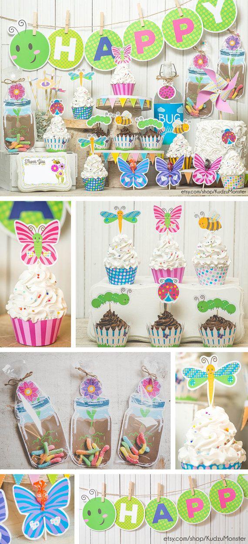 Garden Bug Spring Party Printable Decor Kit Diy Cupcake Wrappers