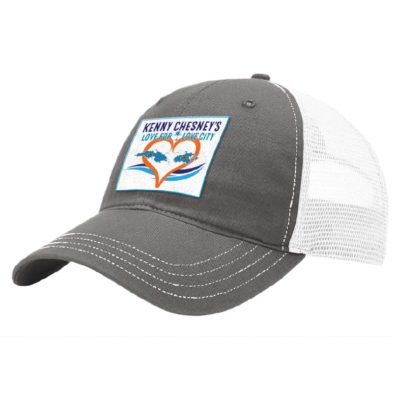 OFFICIAL Kenny Chesney Love For Love City Ballcap    Official Love For Love  City Ballcap! Charcoal and white mesh cap with Love For Love Patch. b6feb0cc1f8