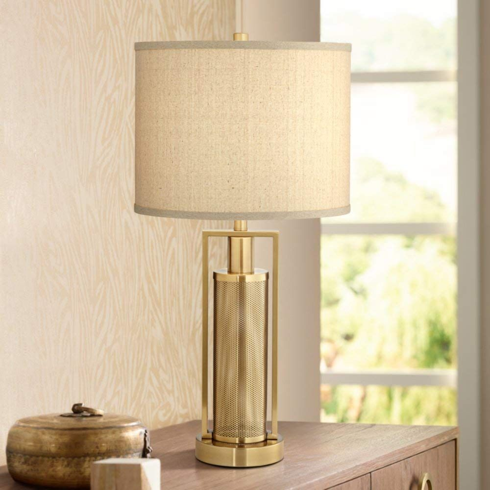 Milly Brass Metal Table Lamp With Night Light Amazon Com