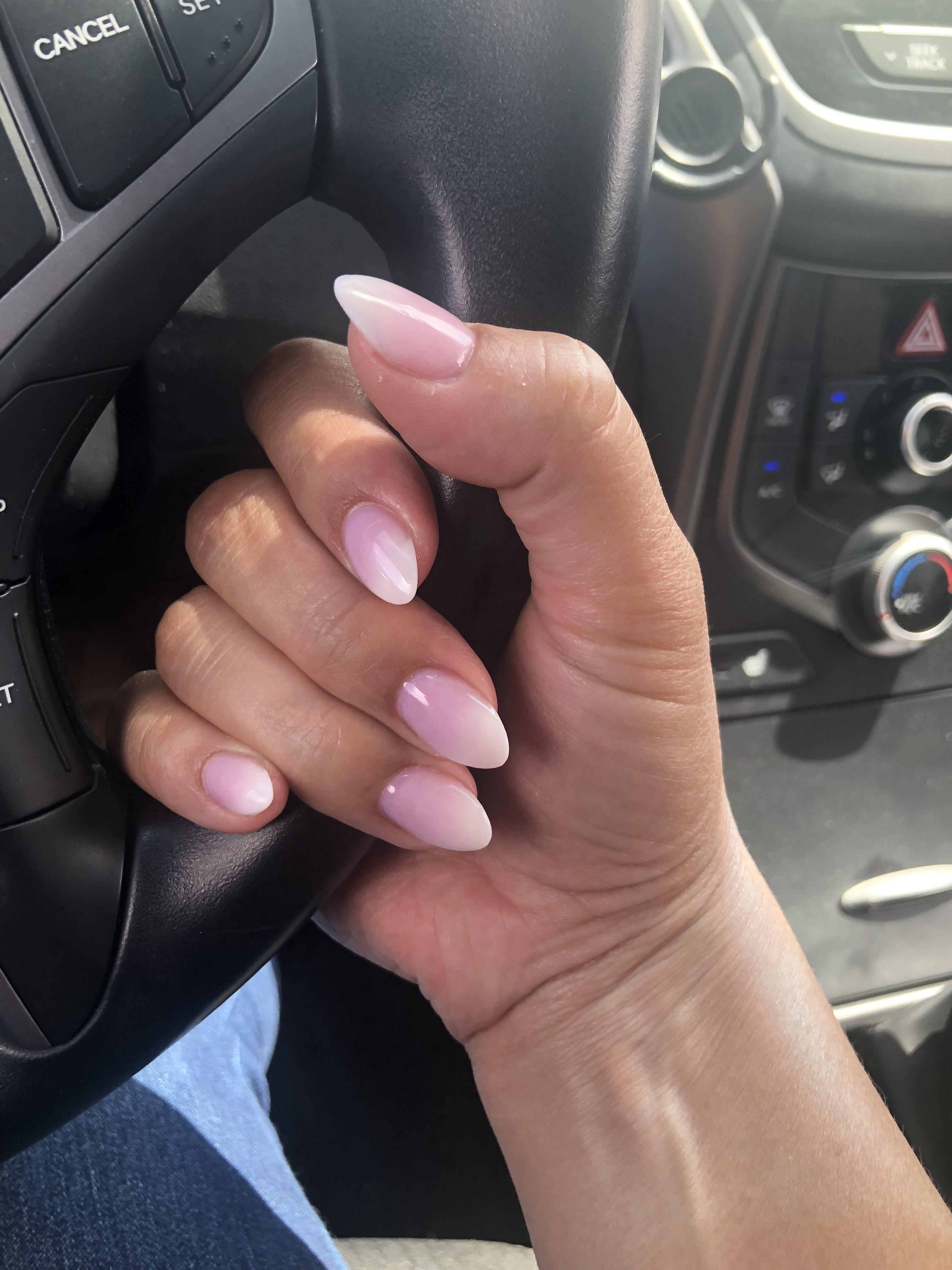 Short Almond Pink And White Ombre Nails Pink Ombre Nails Almond Shape Nails Ombre Nails