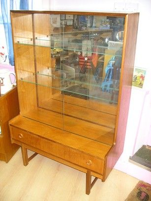 Mid Century Teak Display Cabinet With Mirrored Back Two Glass